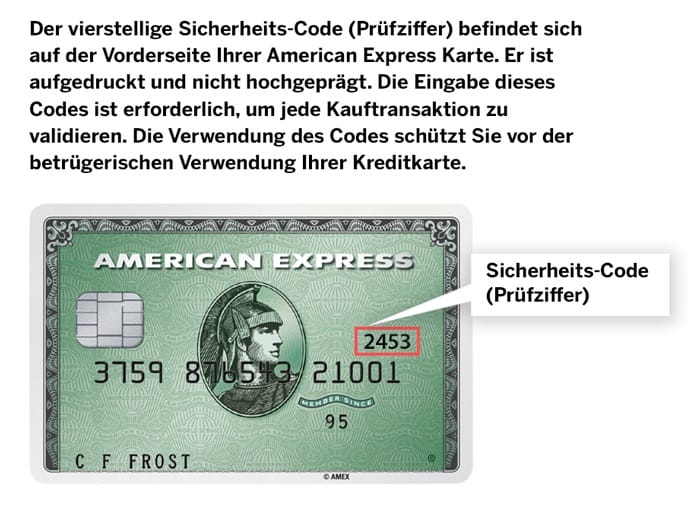 American Express Safekey (Sicherheits-Code oder Prüfziffer)