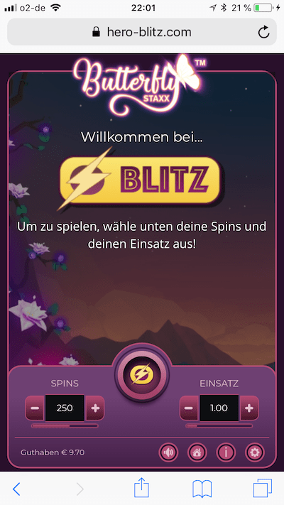 Butterfly STAXX Blitz bei Casino Heroes