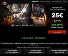 25 Freispiele bei der Anmeldung  + 675% Bonus auf Ihre ersten fünf Einzahlungen