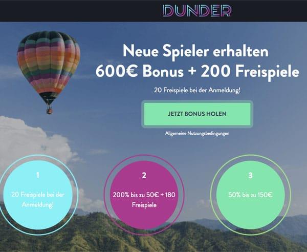 Dunder Casino – holen Sie 20 Freispiele für Starburst