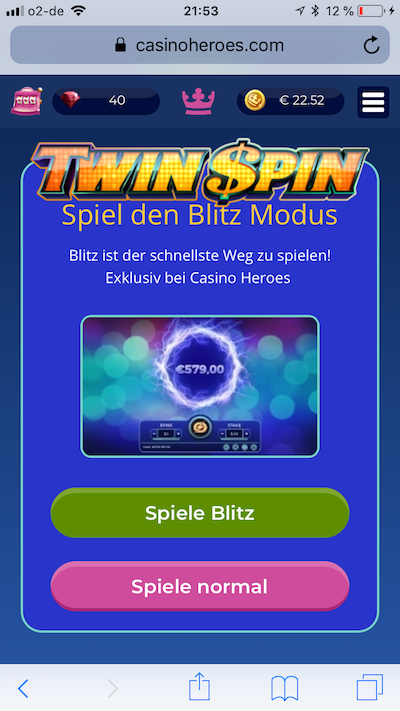 Twin Spin Blitz bei Casino Heroes